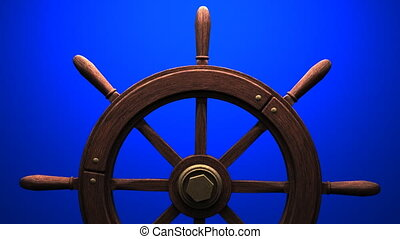 Rudder on blue background.