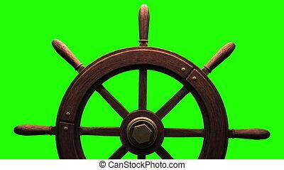Rudder on green chroma key. Zoom camera view.