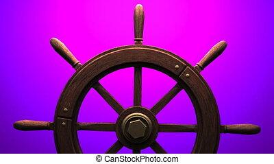 Rudder on purple background. Zoom camera view.