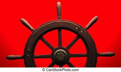 Rudder on red background