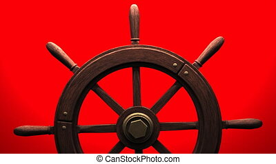 Rudder on red background. Loop able 3DCG render animation.