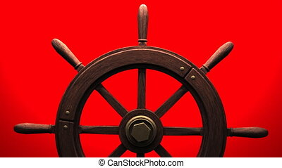 Rudder on red background. Zoom camera view.