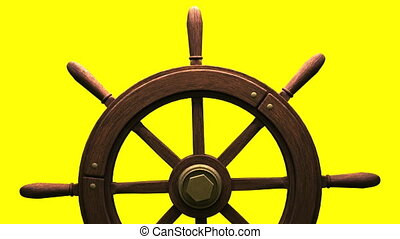 Rudder on yellow background. Loop able 3DCG render...