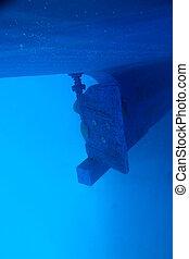 rudder, oar from a boat underwater