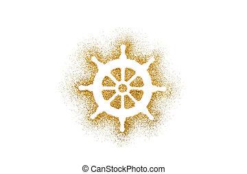 Rudder shape on golden glitter over white background