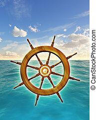 Rudder wheel over a sky and ocean background. Digital...