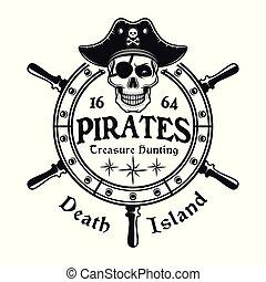Rudder wheel with pirate skull vector emblem