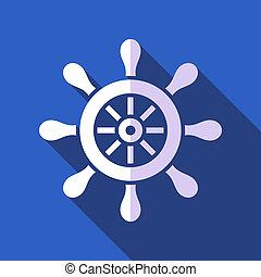 Rudder - White vector rudder on blue background flat design