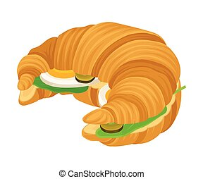 Ruddy French Croissant with Stuffings Isolated on White ...
