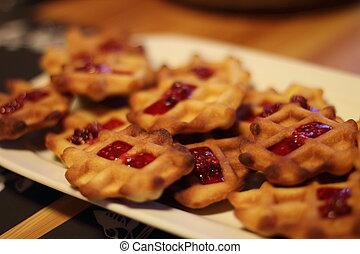 waffles with raspberry jam