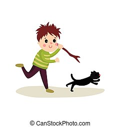 Rude boy running after cat with stick in his hand, cartoon bad kid character