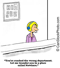 Rude Customer Service - Business cartoon about rude customer...