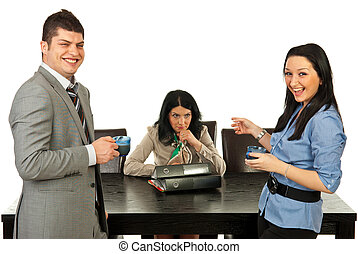 Rude people laughing out loud of their colleague