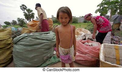 rudera, kolekcjoner, rodzina, odpadki, asian