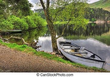 ruderboot, an, seite, von, lake/loch
