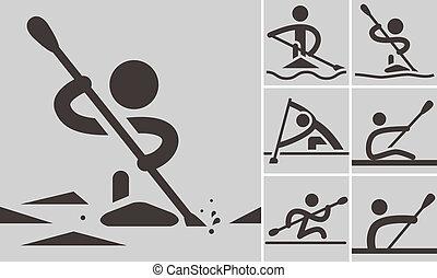 rudern, und, canoeing
