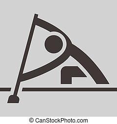 rudern, und, canoeing, ikone