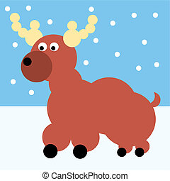 Rudolp reindeer - Santa Claus Vector Illustration cartoon