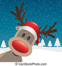 rudolph, cla, rendier, neus, kerstman, rood