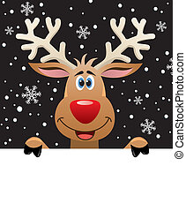 rudolph deer holding blank paper for your text - vector xmas...