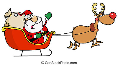 Kris Kringle In His Sleigh - Rudolph Flying Kris Kringle In...