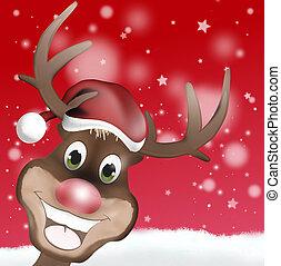 rudolph, mit, weihnachtshut, und, glücklich, lächeln, gesicht