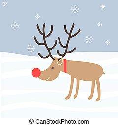rudolph, noël, renne, vecteur, nez, vacances, dessin animé, rouges