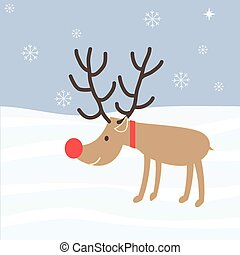 Rudolph Reindeer Christmas Holiday Vector Cartoon Red Nose