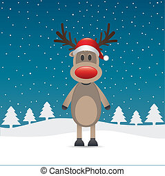 rudolph reindeer red nose and hat - rudolph reindeer red...