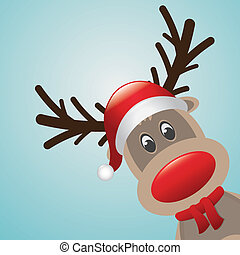 rudolph reindeer red nose and hat s