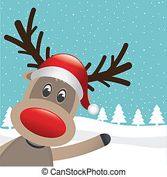 rudolph reindeer red nose and hat wave