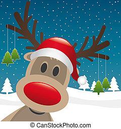 reindeer red nose hang christmas tree