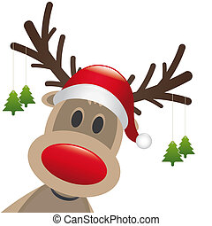 reindeer red nose hang christmas tree