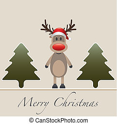 reindeer red nose hat fir tree