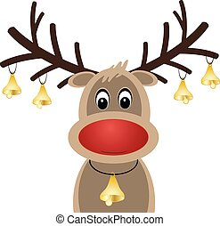 rudolph reindeer red nose with christmas bells vector eps 10