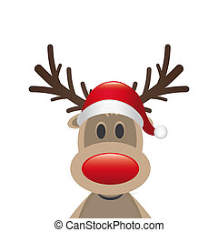 rudolph reindeer red nose santa claus hat