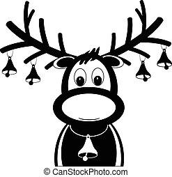 rudolph reindeer with christmas bells vector eps10
