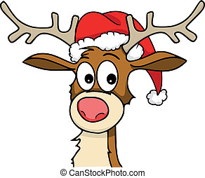 rudolph - Reindeer with christmas hat on.