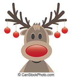 rudolph, rentier, rote nase, weihnachten, kugeln