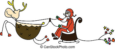 rudolph santa sleigh christmas cartoon hand drawn