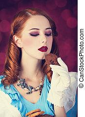 rudzielec, portret, kobieta, młody
