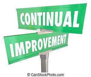rue, améliorer, continuel, signes, route, amélioration, illustration, 3d