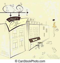 rue, café