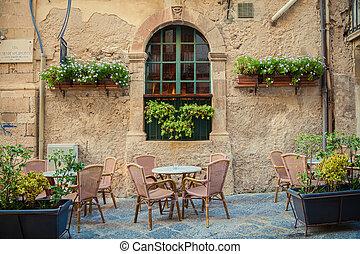 rue, café, dans, siracusa