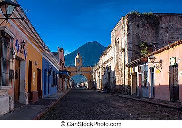 rue, catarina, arc, et, volcan, antigua guatemala