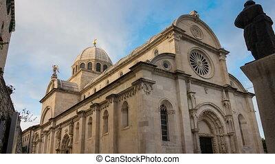 rue, cathédrale, sibenik, temps, -, défaillance, james, ...