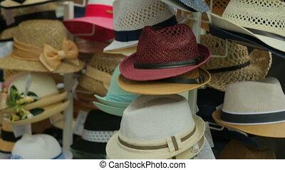 rue, chapeaux, marché