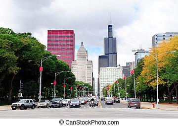rue, chicago, vue