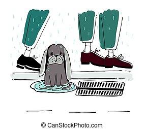 rue., chiot, illustration., chien parasite, triste, vecteur, rain., sdf, sous, dessiné, main, regard