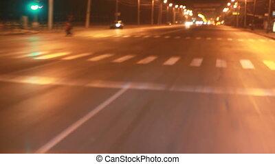 rue, conduite, nuit